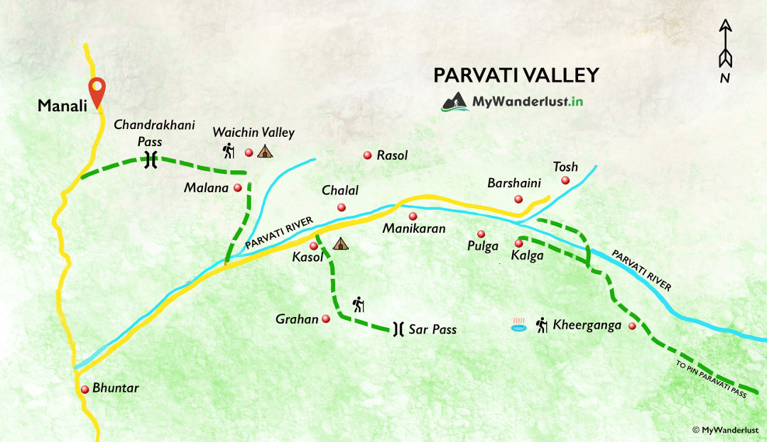 Parvati Valley map. How to reach, nearby places and treks.