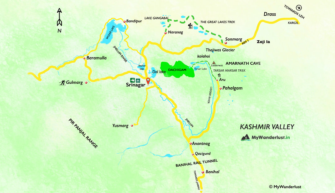 Kashmir Valley map. See treks, places to visit, how to reach, and nearby places.