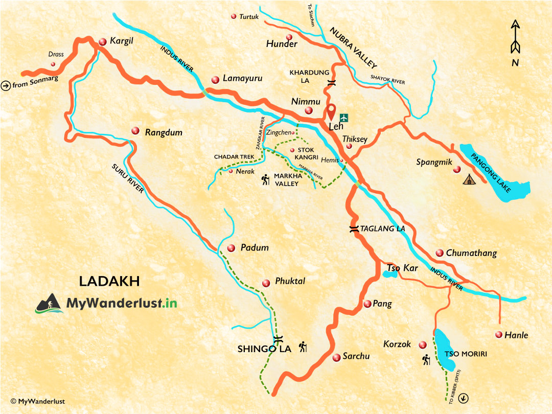 Ladakh map. See treks, places to visit, how to reach, and nearby places.