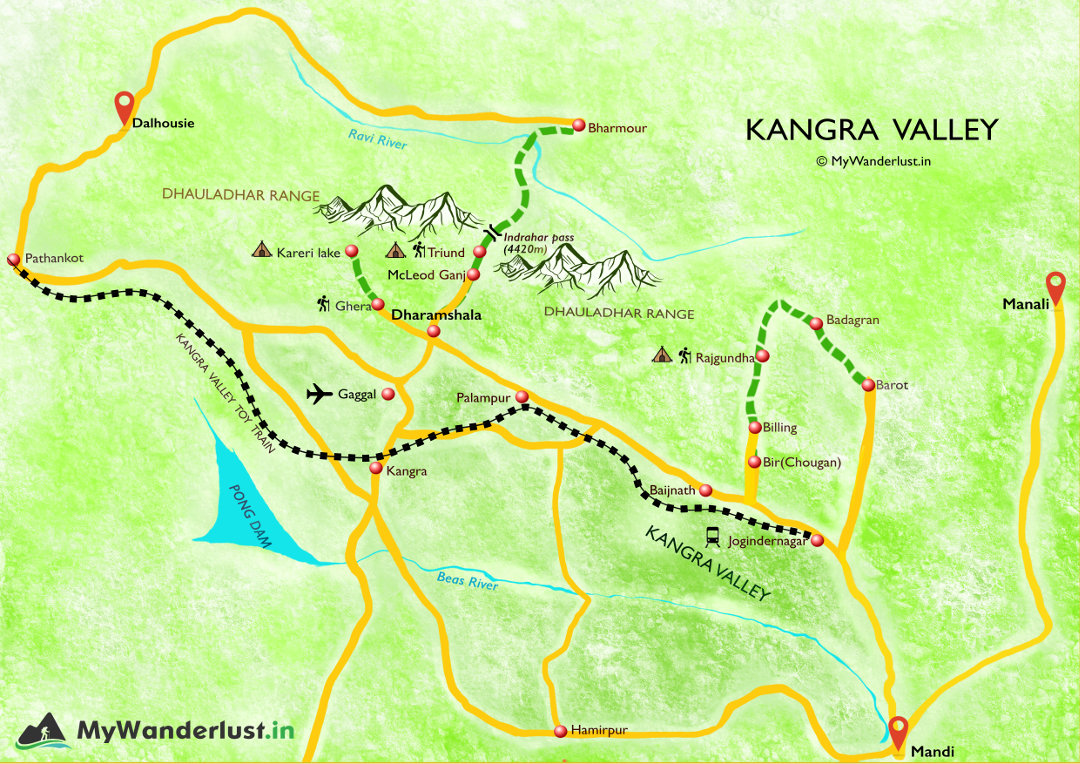 Kangra Valley map. How to reach, nearby places and treks.