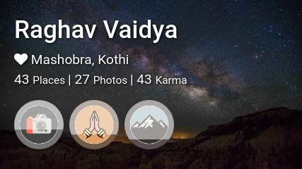 Raghav Vaidya's traveler profile on MyWanderlust.in